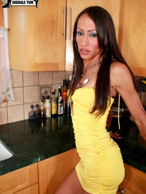 Thin Hung And Rock-hard Transsexual Babe Strokes Herself Off