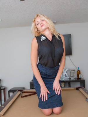 Viktoria On The Pool Table