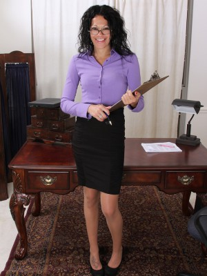 Dark brown and long legged Naira Smith globs her clipboard to spread