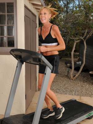 Thin 36 year old Stacey Y takes a break from her workout and unclothes