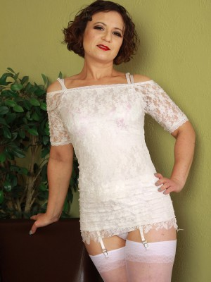 Hot hairy pussied 36 year aged Anna P posing inside taut white underwear