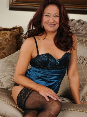 52 year older Renee Black inwards blue panties plus nylons found on the ottoman