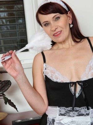 Older house girl Vera Elation disrobes plus slips her feather duster unfathomable