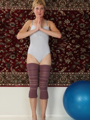 After a extended exercise 25 year older Katrina Mathews enjoys to stretch