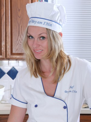 Stunning blond Lara Elaine provides a bare cooking program in kitchen
