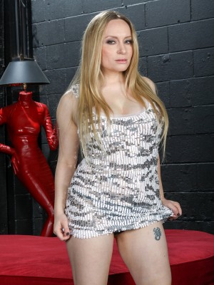Breasty 35 yr old Aiden Starr slides away from the woman tight elegant dress