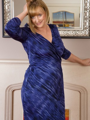 46 yr old golden-haired April  slides off the woman elegant blue dress simply for you