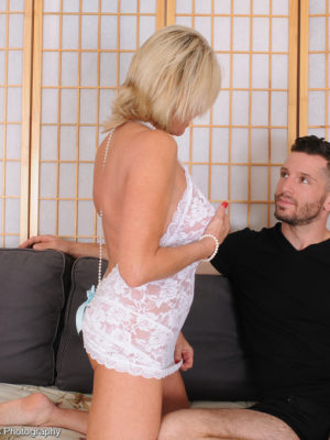Sexually excited golden-haired Payton Hall assumes on the lady man's big manmeat inside bedroom