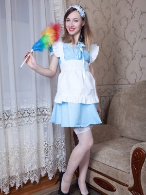 Yuliya is cleaning but the woman dude desires very hot sex