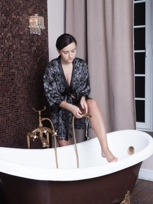 Ramira strips naked just before getting into her tub