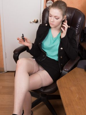 Apricot Pitts strips naked in her office