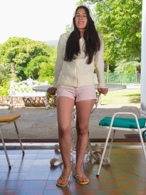 Solange enjoys her body while outdoors