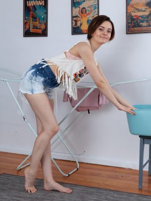 Melody Sweet strips naked after ironing