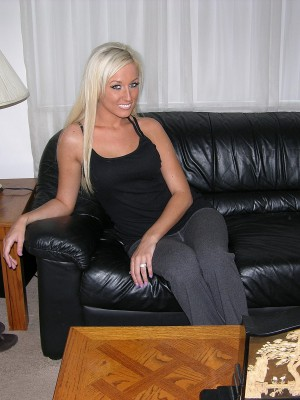 Hot Golden-haired Sweetheart Takes off In The Living Room & Bedroom