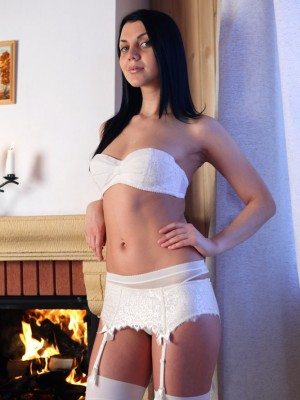 Brunette tresses Macy appears amazing inside her splendid white undies while posing on cam