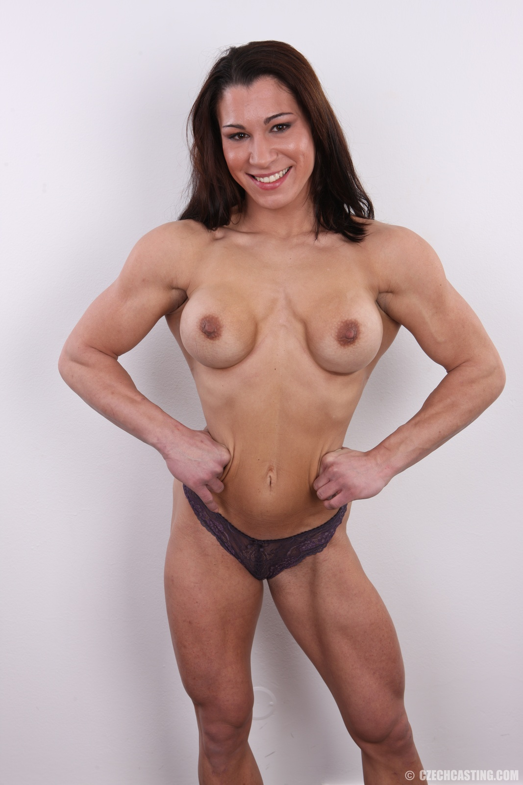 Beautiful brunette natural perky tits