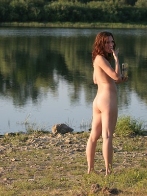 Naked females at the shore