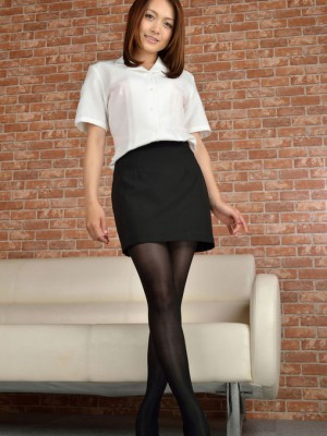 On heels and hot company outfit is ready for job