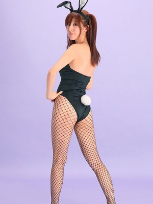 Bunny exposes hot behind in fishnet tights