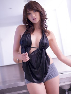 Mikie Hara Oriental in cut-offs washes her huge titties over remarkable dress