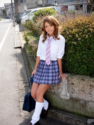 Rumika Oriental girl in school uniform features these kind of appetizing behind