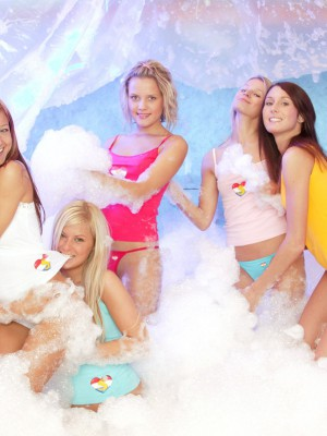 Nice-looking cute sapphic chicks leaping around in load of soap