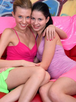 Two very lewd teen lesbo sweethearts going at it hard