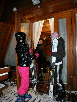 Two insatiable lesbian babes love messing around at the ski resort