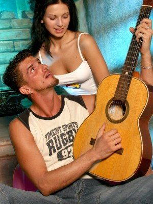 A remarkable teenage brunette hair hotty fucking the hot guitar man