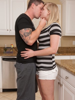 Buxom coed Roxy Lovette plowed hard in the kitchen.
