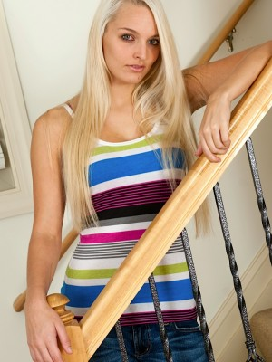 Stunning blond coed Maci Lee widens pussy on the stairs.