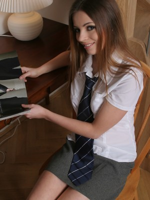 Check out Nicky getting nasty as a schoolgirl