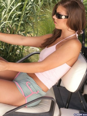 Scorching Hungarian legal age teenager takes off in the golf cart