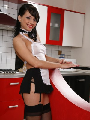 Wicked girl in fantastic underware masturbates in kitchen