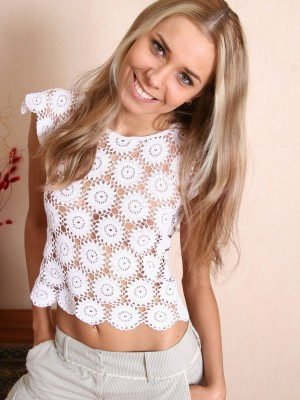 Fantastic blond looks cute in her white knickers