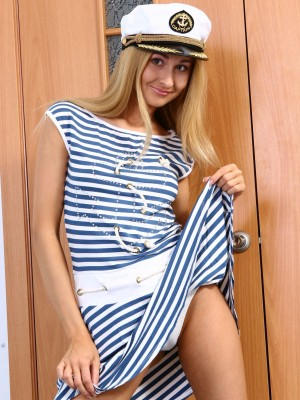 Hot Ukrainian teenage looks gorgeous as a sailor