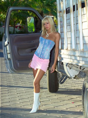 Magnificent golden-haired babe milks her pussy in the car