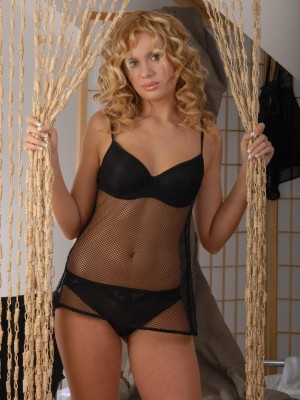 Breathtaking golden-haired in her hawt ebony knickers