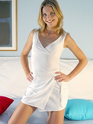 Wonderful golden-haired in her hot satin underware
