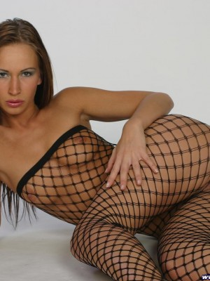Handsome Czech girl in luxurious hose