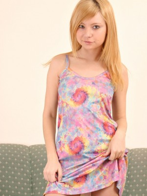 Super cute golden-haired legal age teenagers shows off her pussy