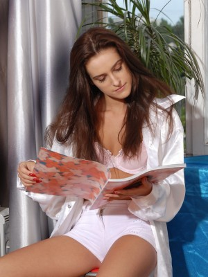Tall brunette hair disrobes out of her hawt white undies