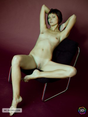 a lengthy legged and nice design. See this lady posing around on the chair and completely naked. Beata is available in good looking 3D.