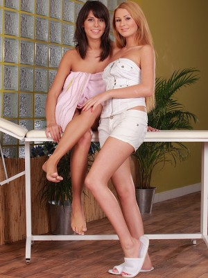 Nice-looking lesbo babes Antonia and Melanie slurping shaved pussy.