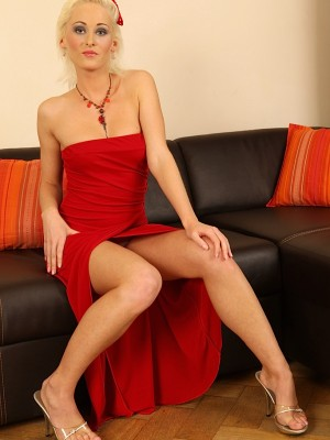 Platinum blond Haly Ivy peels off her killer red dress.