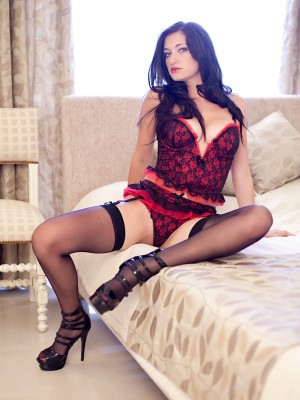 Breathtaking buxomy brunette hair Brook Simmons in stockings.