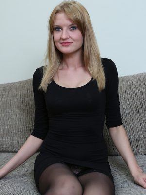 Cool golden-haired Bree Haze drains in black stockings.