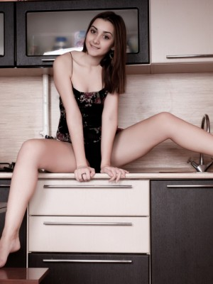 Kitchen enjoyable with brunette locks