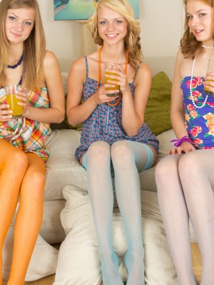 Three teen sweethearts posing