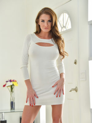 Palatable cougar babe in a super taut white dress